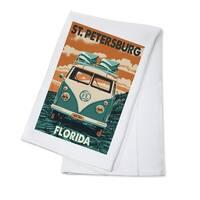 St. Petersburg FL VW Van Letterpress - LP Artwork (100% Cotton Towel Absorbent)