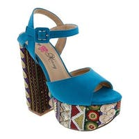 Penny Loves Kenny Women's Skip Platform Sandal Blue Micro Suede