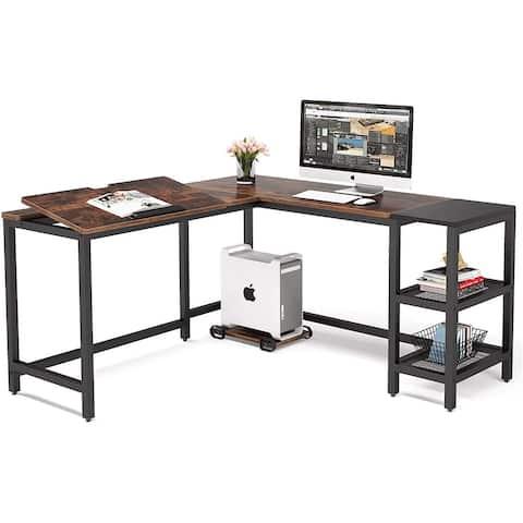 L Shaped Computer Desk with Storage Shelves, 59 inch Large Corner Desk for Home Office
