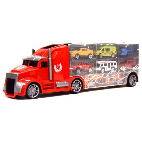 11 in 1 Carrier Truck with Mini Cars and Accessories Big Hauler, Red
