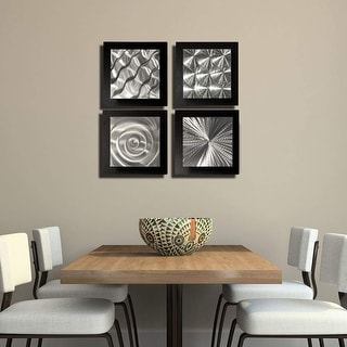 Statements2000 Black/Silver Metal Wall Art Accent Sculpture Modern Decor by Jon Allen (Set of 4) - 4 Squares Black