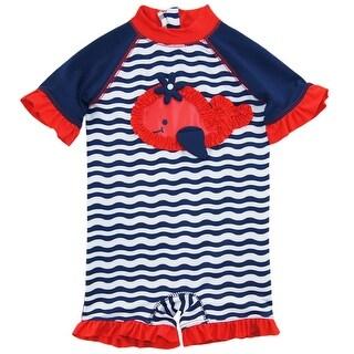 Wippette Baby Girls Navy Stripes Whale 1Pc Swimsuit Rashguard Swim Suit
