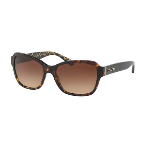 Coach Rectangle HC8232F Women DARK TORTOISE Frame BROWN GRADIENT Lens Sunglasses
