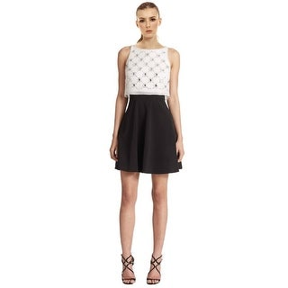 Aidan Mattox Two-Tone Embellished Overlay Cocktail Dress - 0