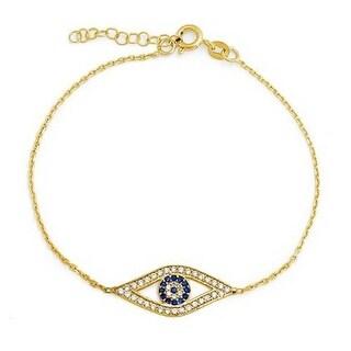 Bling Jewelry 925 Silver Gold Plated Blue CZ Evil Eye Bracelet