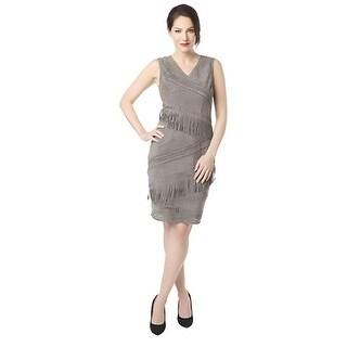 Elie Tahari Womens Blythe Cocktail Dress Suede Fringe