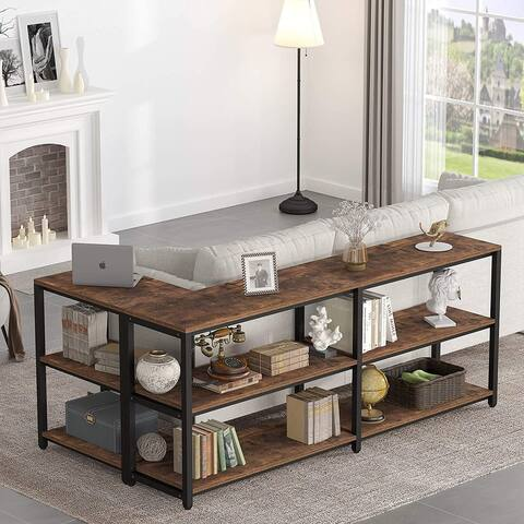 Extra Long Sofa Table, Industrial Behind Couch Table with Storage for Living Room & Entryway, Hallway