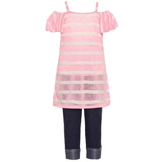 Girls Pink Stripe Pattern Off-Shoulder Top 2 Pc Pant Outfit