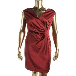 Lauren Ralph Lauren Womens Petites Ruched Sleeveless Cocktail Dress