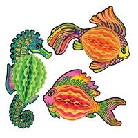 "Club Pack of 12 Bright Multi-Colored Hanging Honeycomb Tissue Tropical Under the Sea Fish Decorations 18"" - Multi"