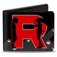 "Team Rocket ""R"" James & Jessie Silhouette + Team Rocket Meowth Black Grays Bi-Fold Wallet - One Size Fits most"