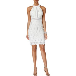 Nightway Womens Petites Cocktail Dress Lace Glitter (Option: Ivory - 14P)