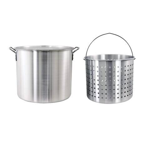 CHARD ASP60 Aluminum Stock Pot and Strainer Basket Set, 60 Quart