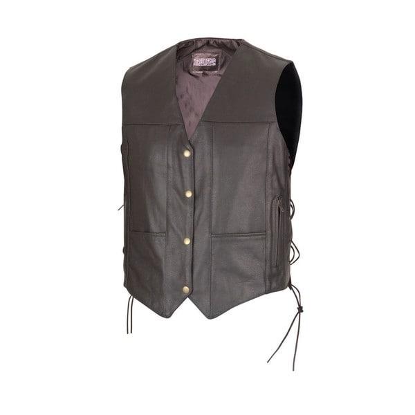 Men Black Leather Ten Pocket Motorcycle Biker Vest by Xtreemgear MBV114
