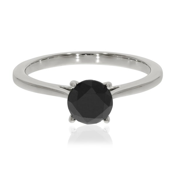 Prism Jewel 1.25 TDW Prong Set Round Black Diamond Solitaire Engagement Ring