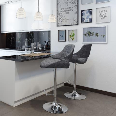 WYNDENHALL Malone Modern Industrial Adjustable Swivel Bar Stool in Grey Woven Fabric
