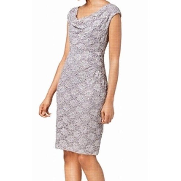 Cowl Neck Sheath Dresses: Shop Connected Apparel Dusty Taupe Womens 6 Cowl-Neck Lace