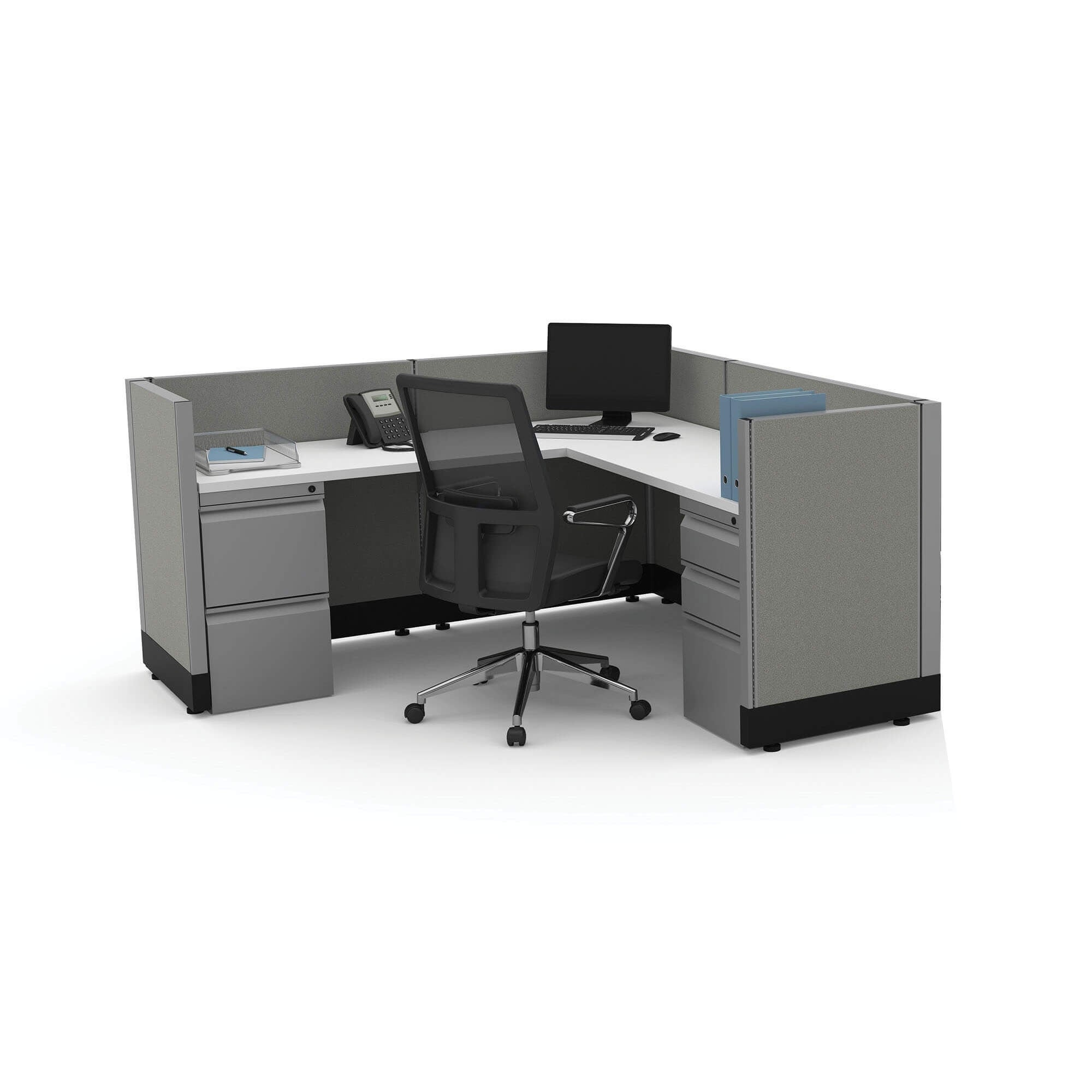 System Furniture 39H Powered (5x5 - White Desk Silver Paint - Assembled)
