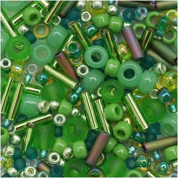 Toho Multi-Shape Glass Beads 'Wasabi' Green Color Mix 8 Gram Tube