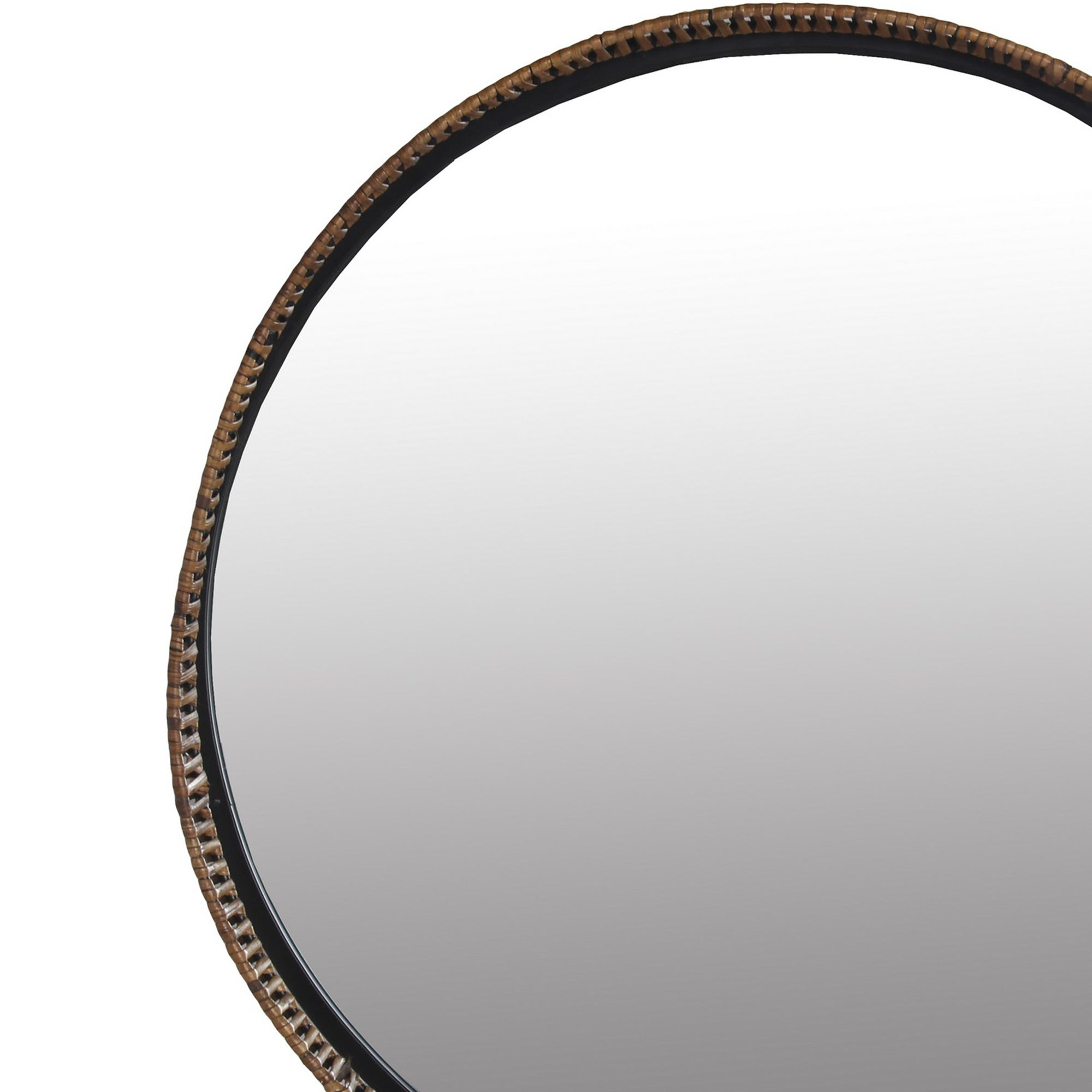 Shop Round Metal Frame Wall Mirror With Rattan Encasing Black And Brown On Sale Overstock 31251579
