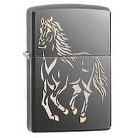 Running Horse Black Ice Zippo Lighter