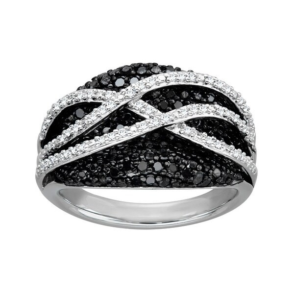3/4 ct Black and White Diamond Cross Band Ring in Sterling Silver