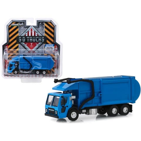 2019 Mack LR Refuse and Recycle Garbage Truck Blue S.D. Trucks Series 7 1/64 Diecast Model by Greenlight