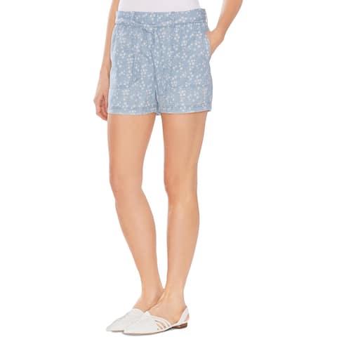 Vince Camuto Womens Casual Shorts Cotton Floral Print - Indigo