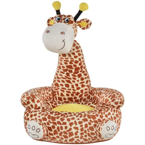 Qaba Giraffe Shaped Kid Sofa Flannel Covered Armchair Stick Horse Child Chair with Padded Seat for 18 to 36 Months