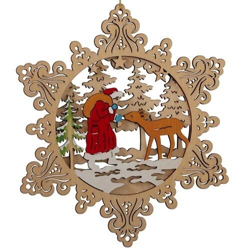 Santa and Deer Scene Ornament