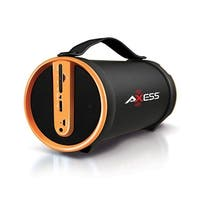 Axess Yellow Portable Bluetooth Indooroutdoor 2.1 Hifi Cylinder Loud Speaker With Builtin 4 Inch Sub