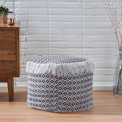 Royce Boho Fabric Cube Pouf by Christopher Knight Home