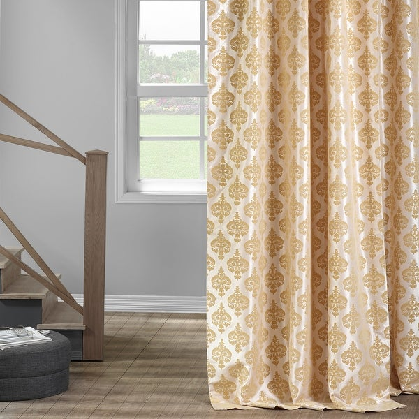 Exclusive Fabrics Beatrice Champagne Flocked Faux Silk Curtain. Opens flyout.