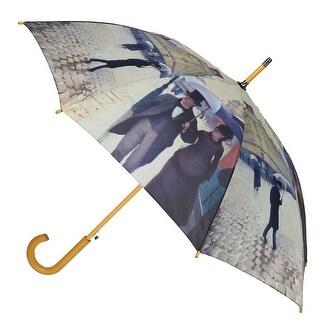 CTM® Women's Auto Open Paris Street Rainy Day Print Stick Umbrella - One size