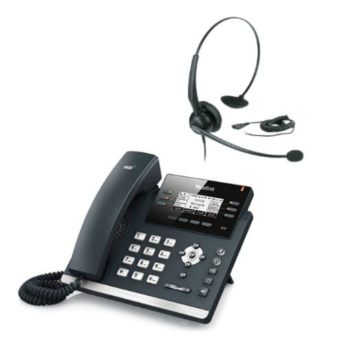 Yealink SIP-T42G with Headset Ultra-Elegant Gigabit IP Phone with Headset