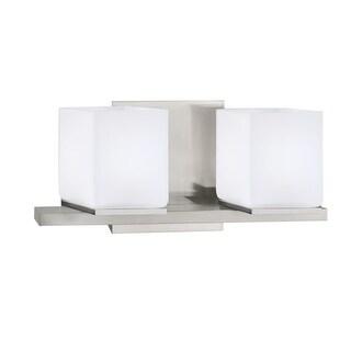 "Norwell Lighting 5312 Icereto 6"" Tall 2-Light Bathroom Vanity Light with White Glass Shades"