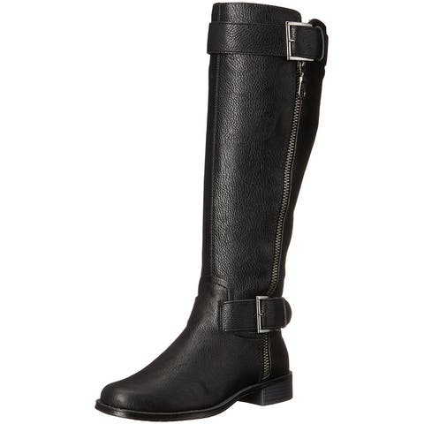 Aerosoles Womens Ride Around Leather Round Toe Mid-Calf Riding Boots