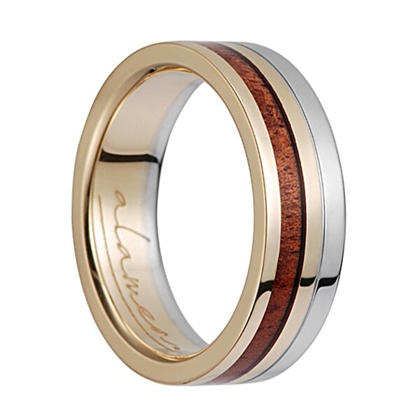 14K Yellow Gold Amp White Flat Wedding Ring With Koa Wood Inlay