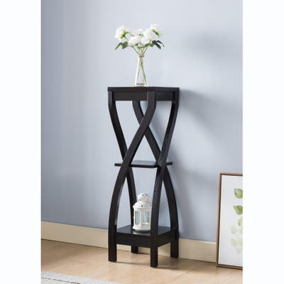 Q-Max Curved Legs Plant Stand Featuring Three Storage Shelves