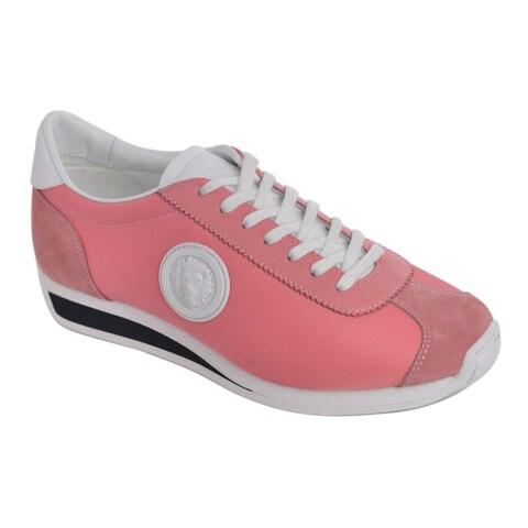 Versus Versace Pink Suede Leather Panel Trainer Sneakers