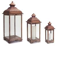 """Set of 3 Decorative Rust Colored Pillar Candle Lantern Holders with Handle 38"""" - Brown"""