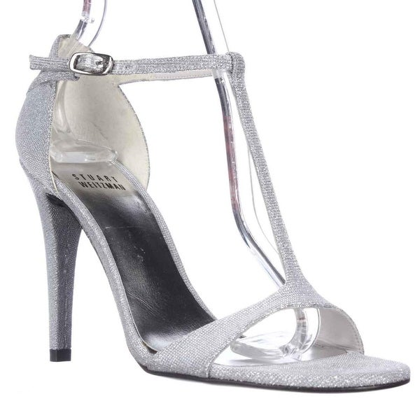 Stuart Weitzman Sinful T-Strap Dress Sandals, Silver - 6 us