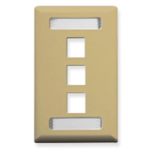 Faceplate, Id, 1-Gang, 3-Port, Ivory