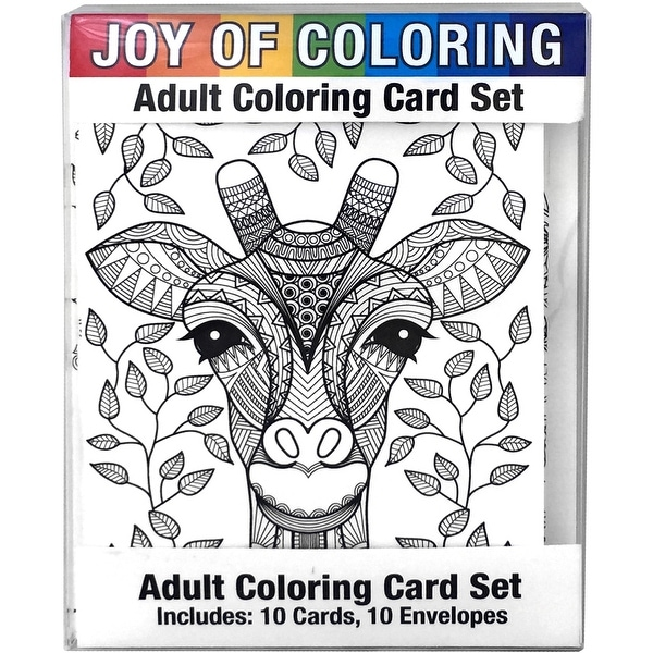 "Joy Of Coloring Adult Coloring Card Set 4""X5.5""-Artistic Animals"