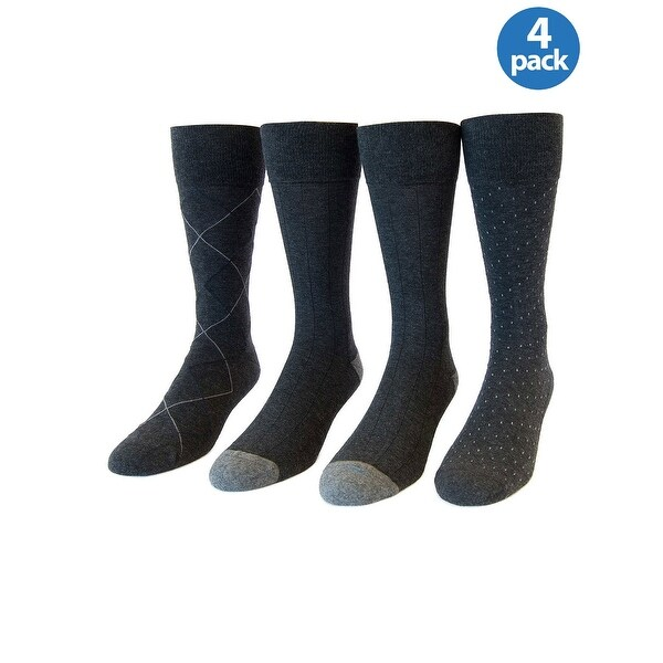 Kirkland Signature Mens Cushioned Foot Dress Socks Charcoal Pack 4 Pairs 6.5-12