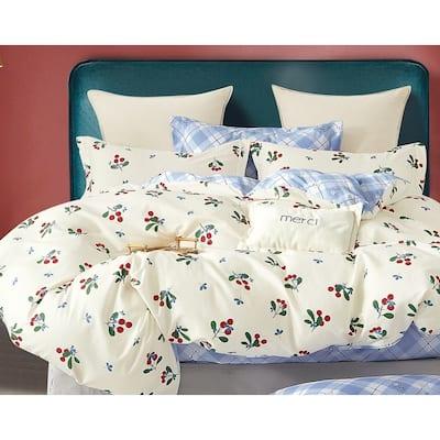 Myra Cherry Print 100% Cotton Comforter Set