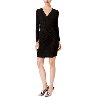 Calvin Klein Womens Petites Cocktail Dress Faux Wrap Long Sleeves