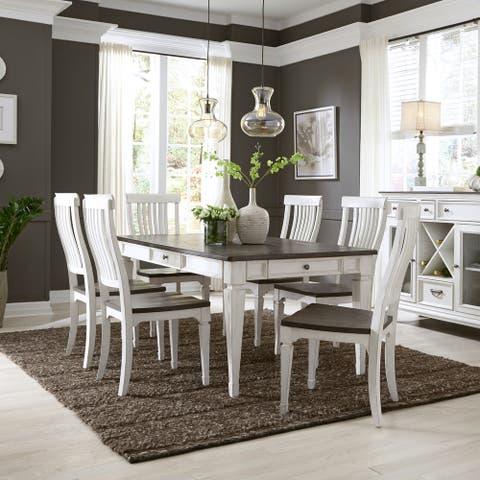 Allyson Park Wirebrushed White 7-piece Rectangular Table Set