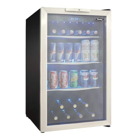 "Danby DBC039A1 20"" Wide 124 Can Capacity Free Standing Beverage Center with LED Lighting and Locking System -"