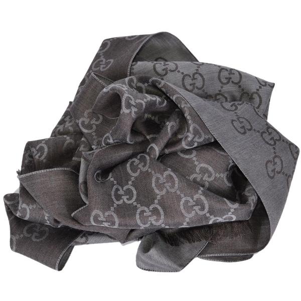 2fcfb679773 Gucci Women  x27 s 165904 Grey and Brown Wool Silk GG Guccissima Scarf  Muffler